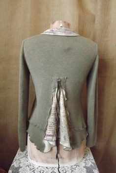 Lagenlook Upcycled Cropped Sweater with Bustle Pocket and Ties