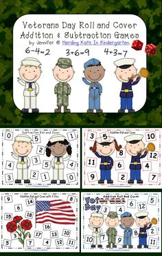 Veteran's Day Roll & Cover Addition & Subtraction Games: Fun way to practice math skills!