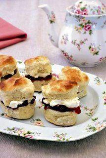 Strawberry jam and clotted cream scones.