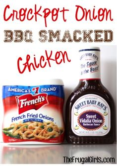 Crockpot Onion BBQ Smacked Chicken Recipe! ~ from TheFrugalGirls.com ~ this Slow Cooker dinner is SO easy and crazy good! #slowcooker #recipes #thefrugalgirls
