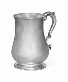 AN AMERICAN SILVER QUART CANN -   MARK OF PAUL REVERE, BOSTON, 1787 -   Baluster-form, on a molded circular foot, the double-scroll handle with acanthus grip, the body engraved with monogram TJL within a neoclassical cartouche, marked under base and on rim with Kane mark B  6 1/8 in. (15.5 cm.) high; 17 oz. 10 dwt. (550 gr.) 155 cm, fine art, american silver, paul rever