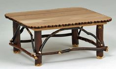 Rustic Hickory Furniture - Hickory Coffee Table with Decorative Edge - Item #CT03093
