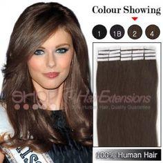20 Inch 20pcs Tape Premium Remy Human Hair Extensions Straight (#2 Darkest Brown)