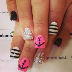 black white and pink nails, black white pink, pink anchor nails, nail arts, summer nails, black sparkly nails, sparkly anchor nails, nail ideas, nautical nails