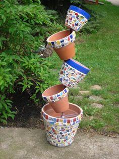 mosaic topsy turvy pots. I love this