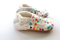 Multi Color Hearts Polka Dots Girl Baby Slip On Shoes