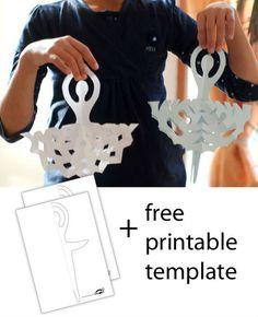 Snowflake ballerina christmas cards, idea, craft, new apartment, paper snowflakes, snowflak ballerina, ballerina snowflak, parti, kid