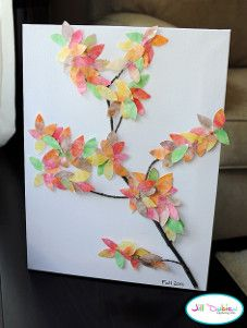 Can you guess what this fall leaf art is made of? I'll give you a hint...it's in your kitchen!