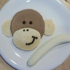 Monkey Pancakes {Kids Food Crafts}  http://ediblecraftsonline.com/ebook2/mybooks73.htm?hop=megairmone chocolate chips, fun food, kids food crafts, monkeys, diy crafts, breakfast, pancakes, monkey pancak, kid foods