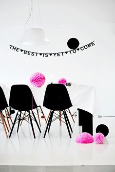 diy word banner, table decorations, interior, eam, color schemes, banner quot, black white, diy wordbanner, parti