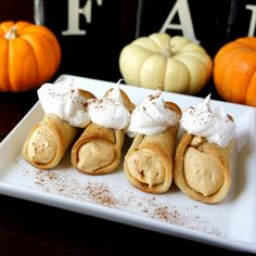 Skinny Pumpkin Pie Cannolis...totally making these.