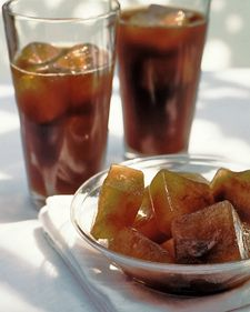 Coffee cubes for ice coffee drinks.