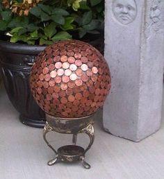 bowl ball, balls, gift ideas, garden art, yard art, pennies, hydrangea, bowling ball, yards
