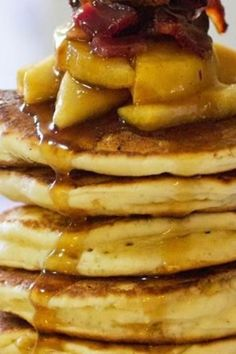Adult pancakes, topped with a bourbon-bacon sauce and bourbon-maple ...