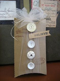 Tulle on pillow box--- add lace and a cute tag card