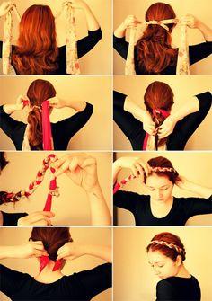 Nouer foulard dans les cheveux on pinterest coiffures head scarfs - Faire une natte ...