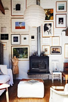 gallery wall and fireplace