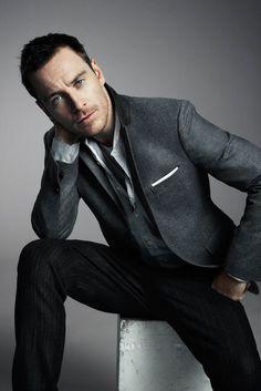 jacket, men styles, this man, grey suits, michael fassbender, michaelfassbend, men fashion, men clothes, pocket squares