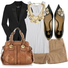 style #style #fashion short, blazer, bag, woman shoes, fall outfits, work outfits, style fashion