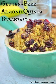 #GlutenFree Almond Quinoa Breakfast from www.thehealthyapple.com
