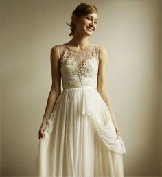 Josephine lace and silk chiffon gown - etsy exclusive / lace wedding dress