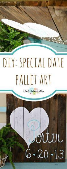 DIY Pallet Art   #wedding #anniversary #birthannouncement   Repurposed Reclaimed Wood