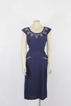 1940s Vintage Dress  Navy Blue with Ivory by VintageFrocksOfFancy, $160.00