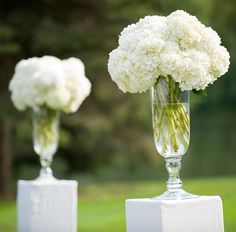 Option for ceremony flowers. Would have two of these on either side of you on pedestals.  Let me know if you like this style, modern, round, no green.  We could re-use them for the food tables