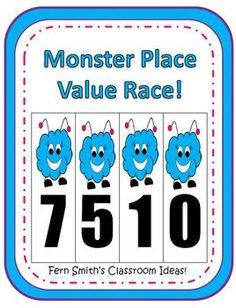 Fern Smith's Halloween Monster Place Value Race Game! #Math #Teacher www.FernSmithsClassroomIdeas.com