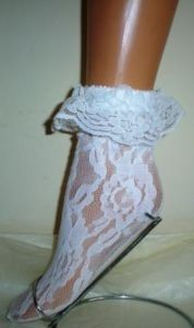 SEXY WHITE FLOWER LACE LACY FRILLY RUFFLE ANKLE SOCKS totally 80's