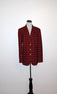 Vintage Pendleton Red Plaid Blazer by CheekyVintageCloset on Etsy, $32.00