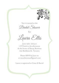 Custom Bridal Shower Invitation - simple and elegant