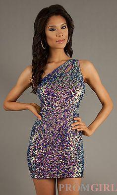 Short Sequin One Shoulder Dress at PromGirl.com
