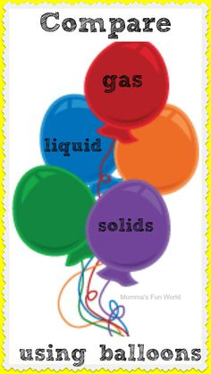 Balloon science comparing gas, liquid and solids. Fun science for kids.