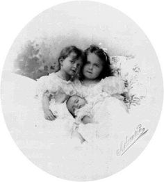 Grand Duchesses Tatiana, Olga, and Maria: 1899. When Maria was about a year old, Nicholas recorded that they had to watch the elder two girls carefully with their little sister, as they were apt to push her around.