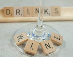 Scrabble wine glass charms.