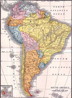 Map South America 1903 Edwardian Antique Engraved Cartography