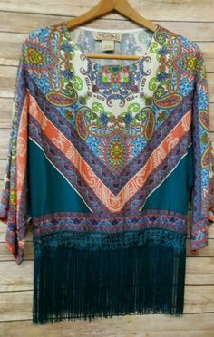 Boutique Flying Tomato Boho Fringe Top Teal Size Large NWOT Anthropologie