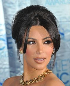 A long black straight updo Kim Kardashian Womens hairstyle by Celebrity Hairstyles