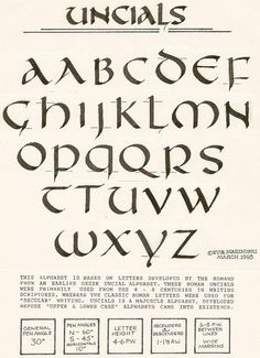 Uncial Alphabet written out in 1993 sans computer.