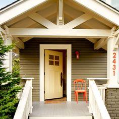 1918 craftsman bungalow:  I love the white open trusswork.