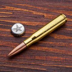 Engraved 50 Caliber Bullet Bottle Opener