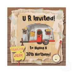 White Trailer Trash Party Invitations