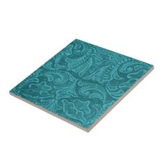 Turquoise Tooled Leather-Look Pattern Tiles
