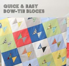 Easy bow-tie block tutorial. I wouldn't want a whole quilt like the pic but it would be cute to have it mixed in with solids for a boy.