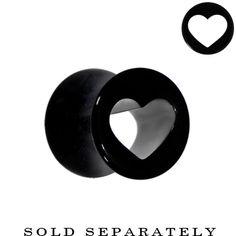 2 Gauge Black Acrylic Hollow Heart Saddle Plug #bodycandy #plugs #heart $3.99