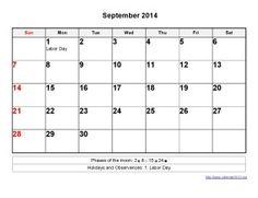 Printable Calendar 2014 September Templates