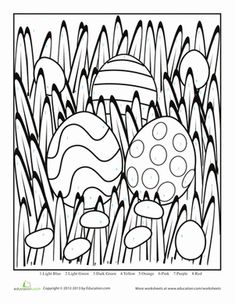 Easter Kindergarten Color by Number Counting  Numbers Worksheets: Easter Egg Color by Number