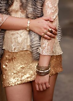 sequins and lace