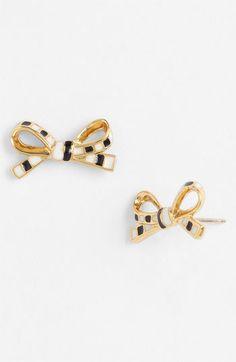 'skinny mini' bow stud earrings Black/ Cream/ Gold